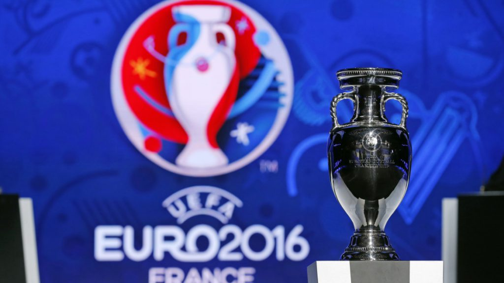 The trophy of the Euro 2016 is seen before the UEFA Euro 2016 qualifying draw in Nice, February 23, 2014. The 53 teams will be split into eight groups of six and one group of five. The top two sides in each group plus the best third-placed team will qualify directly for Euro 2016 in France. The UEFA Euro 2016 will be held in France from June 10 to July 10 2016. REUTERS/Jean-Paul Pelissier (FRANCE - Tags: SPORT SOCCER) - RTX19CW1